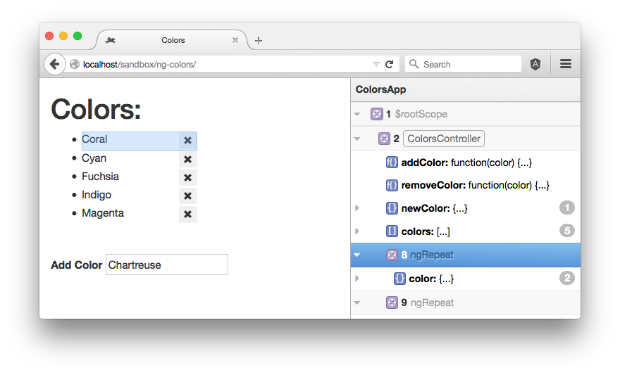 ng-inspector running in the Firefox browser